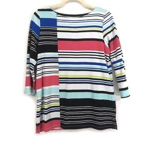 $4‼️ Color Striped Boat Neckline 3/4 Sleeve Top